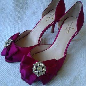 Kate Spade Peep Toe D'Orsay Pumps Heels Pink Satin